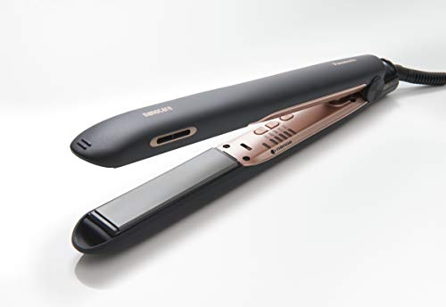 Panasonic EH-HS99 Hydrating Hair Straightener Improves Shine and Reduces Static for a Sleek Finish, Black/ Rose Gold,