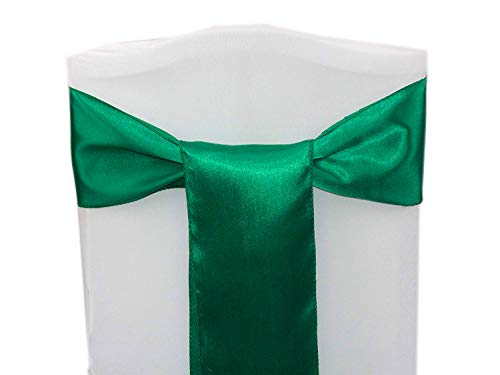 mds Pack of 50 Satin Chair Sashes Bow sash for Wedding and Events Supplies Party Decoration Chair Cover sash -Emerald Green
