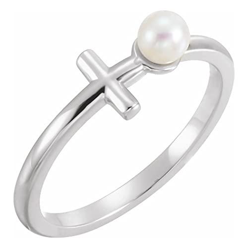 Anillo de plata de ley 925 pulido de perlas cultivadas de agua dulce religiosa cruz tamaño N 1/2 joyería regalos para mujeres