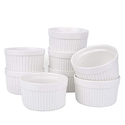 Porcelain Ramekins, SZUAH Ramekin Set of 8, 6oz (3.5 INCH) for Baking, Creme Brulee, Souffle, Appetizer, Custard, Pudding, Dipping Bowl.