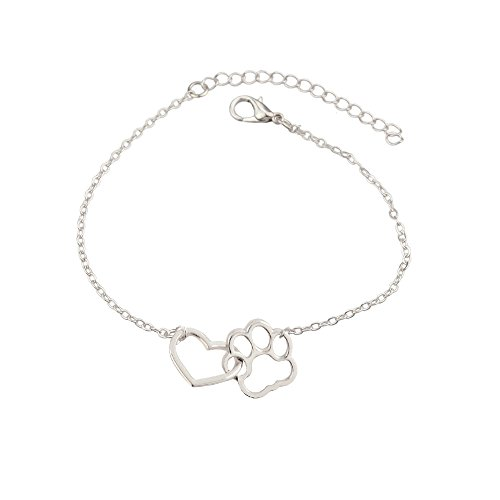 star and sea Elegant Heart Shape Dog Paw Adjustable Expendable Bracelet Hand Chain (Silver)