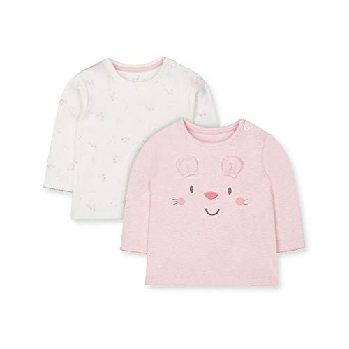 Mothercare Io Mfg 2pk LS Tops T-Shirt, Nero (Pink 130), 9-12 Months (Manufacturer Size:80) Unisex-Bimbi
