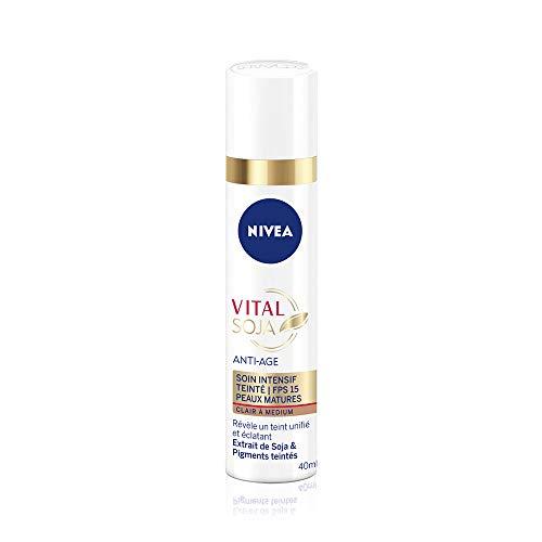 NIVEA Vital Soja Anti-Aging Intensive Pflege Hell bis Medium LSF 15 (1 x 40 ml), Serum Anti-Aging, angereichert mit Soja & getönten Pigmenten, Gesichtspflege für Frauen reife Haut