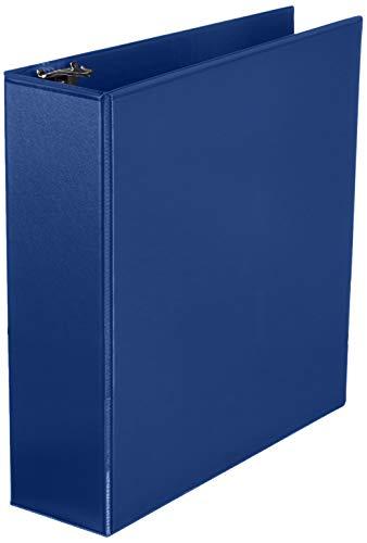 Amazon Basics 3 Inch, 3 Ring Binder, Round Ring, Customizable View Binder, Blue, 4-Pack