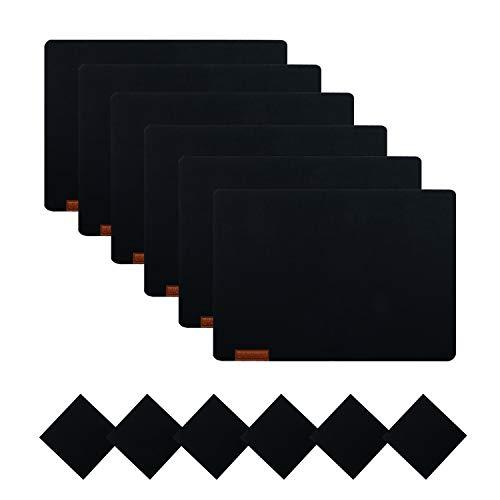 U'Artlines 6er Set Filz Platzsets und Untersetzer Hitzebeständigen Tischsets 30 * 43cm Dicke 5mm(6Platzsets&Untersetzer,Schwarz)
