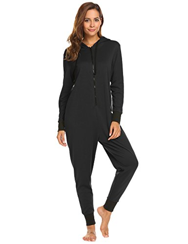 Ekouaer Footless Adult Onesies | One-Piece Pajama Jumpsuits for Women Black