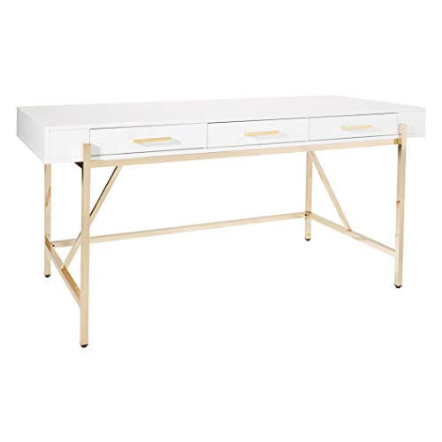 OSP Home Furnishings Broadway Executive Desk with Luxe Design and 3 Euro-Glide Soft Closing Drawers, White Gloss and Gold Plated Finish