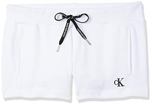 Calvin Klein Jeans CK Embroidery Regular Short, Blanc (Bright White YAF), 38 (Taille Fabricant: Medium) Femme
