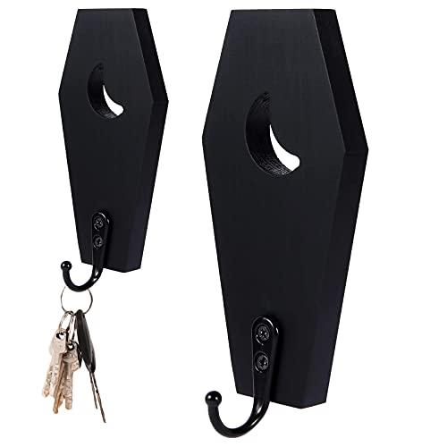 Coffin Key Holder Spooky Gothic Decor,Gothic Home Decor Black Wooden Hanger Hooks for Keys, Mugs,...