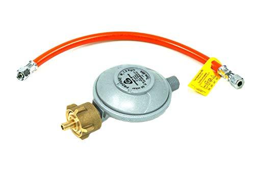 Rabenburg Druckminderer 50mbar + Gasschlauch (1m) - Druckregler für Gasflasche - Gasdruckminderer für Grills, Heizstrahler etc. Umrüstset auf Gasflasche