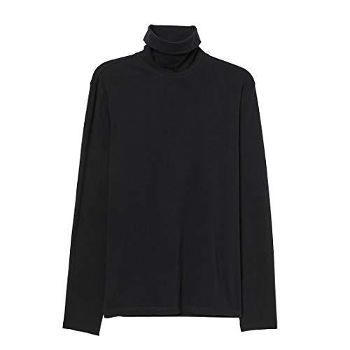Cuello Alto Camisetas de Manga Larga Hombre Algodón Negro Marca Moda Caual Slim Camisas Masculina (Negro, S)