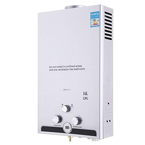 Valens 16L LPG Gas-Durchlauferhitzer Warmwasserbereiter Durchlauferhitzer mit Bildschirm Heißwasserbereiter Boiler Warmwasserspeicher Tankless Instant Boiler (16L)