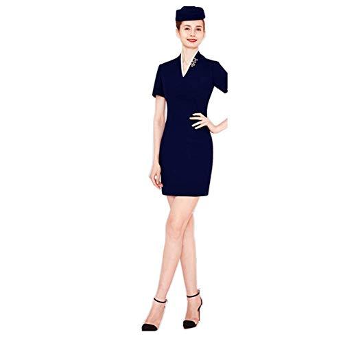 JTIHGNFG JTIH ® vliegtuigbegeleider kostuum dames dameskostuum Stewardess kostuum zwart vliegbegeleider dames goudbezet kostuum