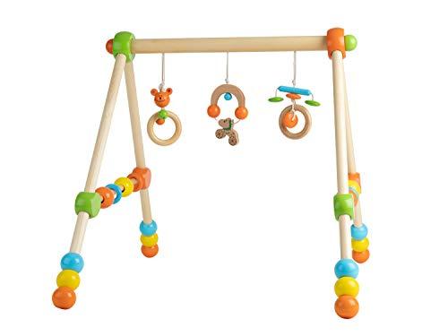 Bieco Spieltrapez | Spielbogen für Babys -Figuren, Rasseln, Kugeln- Höhenverstellbar | Spielebogen Holz Baby | Spieltrapez Holz | Baby Mobile Holz | Activity Center Baby Gym | Holzspielzeug Baby