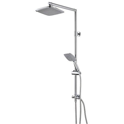 EISL Duschset STELLA Duschsäule mit großer Regendusche 200 x 250 mm und Handbrause, ideal zum Nachrüsten - Nutzung vorhandener Bohrlöcher komplettes Montageset Chrom DX1000CACS
