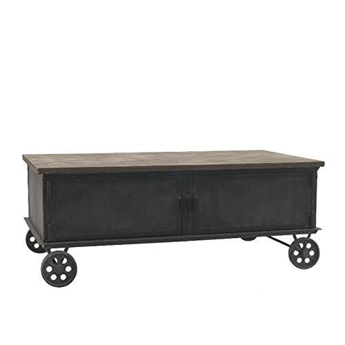 L'ORIGINAL DECO Large Wooden and Metal Coffee Table on Castors 130 cm x 70 cm
