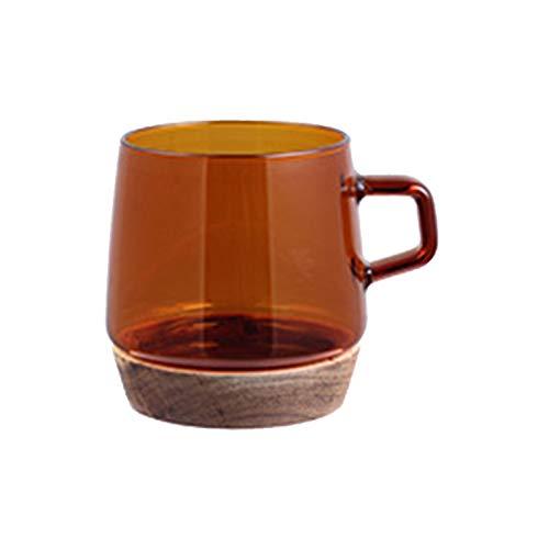 adminitto88 Vasos de cristal resistentes al calor para latte, tazas de vidrio endurecido gruesas duraderas de borosilicato, tazas de café de leche de color, aptas para lavavajillas