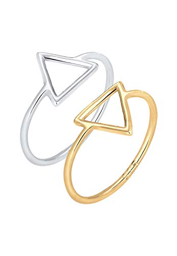 Elli Ring Set Trend Dreieck Bi-Color Geo 925 Silber