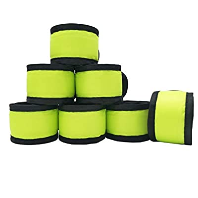 Aoparada LED Light Up Armband Reflective Gear Lights Slap Bracelets for Women Men Kids Night Running Dog Walking Safety (7 Pack - Fluorescent Green)