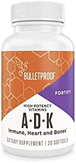Bulletproof Vitamins A-D-K Supplement, High Potency for Heart, Bone and Immune Support, 900mcg Vitamin A, w...