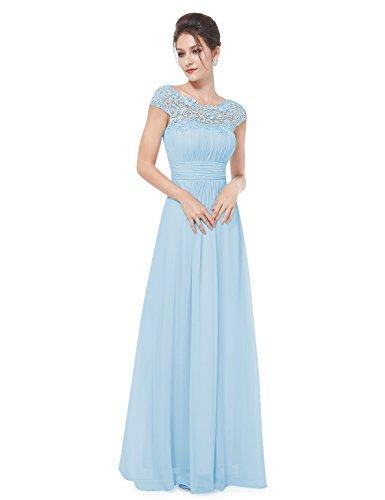 Ever-Pretty Womens Lacey Empire Waist Floor Length Prom Dress 6 US Sky Blue