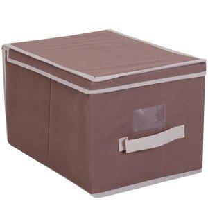 Caja de almacenaje con tapa, tela, color marrón: Amazon.es: Hogar