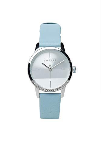 Esprit ES1L106L0015 Yen Uhr Damenuhr Lederarmband Edelstahl 3 bar Analog Blau
