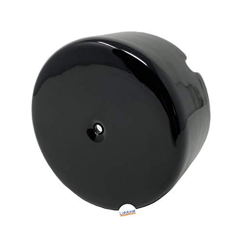 Porzellan Verteilerdose Retro Aufputz elektrische Abzweigdose Weib/Schwarz nostalgische Wanddose | Abmessungen: Ø100 mm - h45 mm mit 3 Ausgängen (Schwarz)
