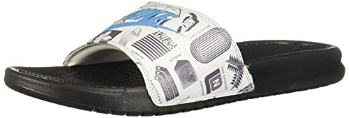 Nike Benassi JDI Print, Sandal Hombre, Black/Blue Fury-Summit White-Iron Grey, 42.5 EU