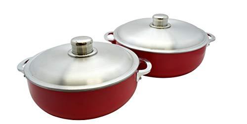 IMUSA USA USA - Juego de 2 piezas de caldero rojo (horno holandés) con tapa de aluminio 26/30 cm