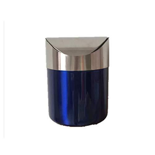 ZWW electronic Cubo de la Basura Papelera De Acero Inoxidable Creativa Mini Papelera De Sobremesa Agitar La Mesa De Comedor KTV del Cubo De Almacenamiento De Escritorio Basurero (Color : Blue)