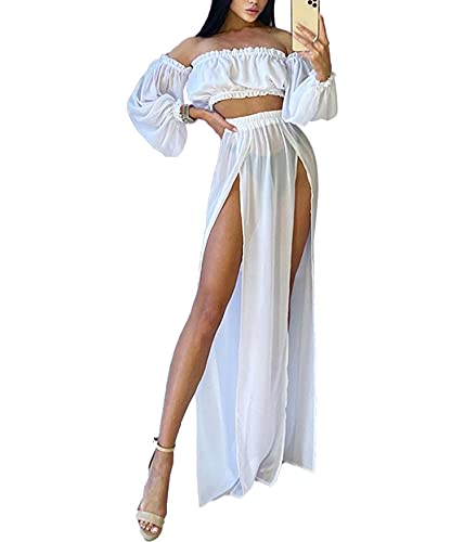 Loalirando Damen Mesh Lange Ärmel Bikini Cardigan 2 Stück Bikini Cover Up DurchsichtigLangarm Crop Top+ Rock mit Schlitz (Weiß, One Size)