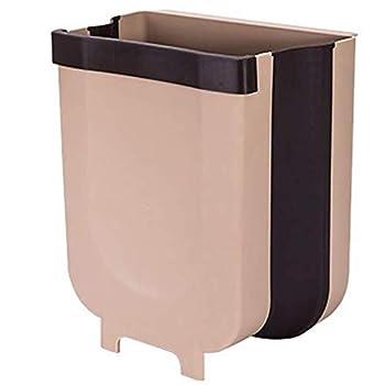 Creative Trash Bin Folding Waste Bins Kitchen Garbage Bin Fruits Vegetable Rubbish Container Foldable Car Trash Can Wall Mounted Door Hanging Trash Can Bathroom Waste Storage Bucket Organizer  Brown