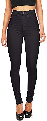 Gemijacka Damen High Waist Skinny Dünn Jeans, Schwarz, M: 36-38