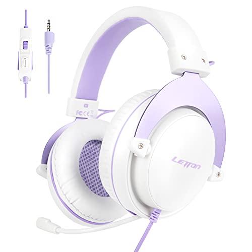 Juegos Auriculares PS4, LETTON Auriculares Gaming de Estéreo con Micrófono Bass Surround y Cancelación de Ruido Cascos Gaming con Cable 3.5mm Compatible con...