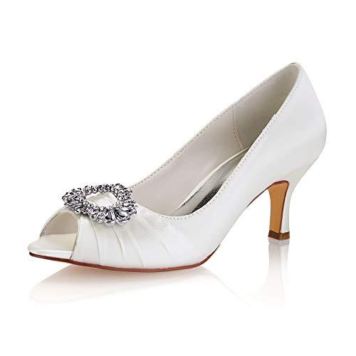 Emily Bridal Zapatos de Seda de la Madre Rhinestones Peep Toe Zapatos...