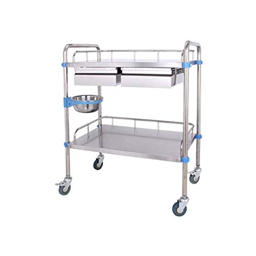 Stainless Steel Trolley Double Trolley Care Dressing Medical Tray Trolley Clinic Beauty Practical 66 * 44 * 86cm