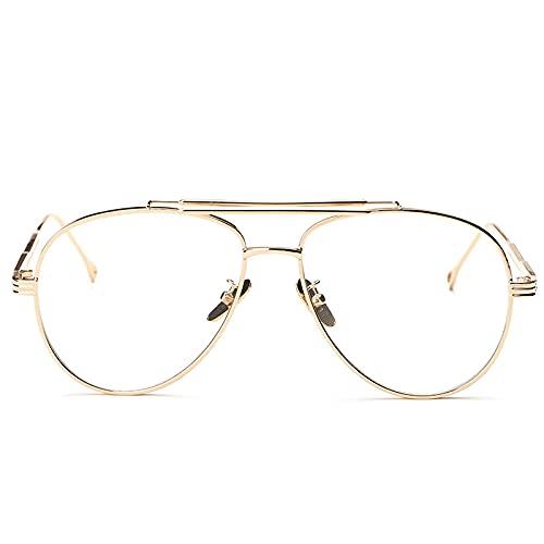 BANLV Gafas Planas de Montura Grande, Gafas de Pantalla Blanca, Gafas de Sol de Tiro Callejero de Personalidad Masculina y Femenina