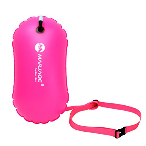 BESPORTBLE Inflatable Swim Bag Waterproof Dry Bag Floating Keeps Gear Dry Bag for Boating Hiking Camping Triathletes Snorkelers Surfers (Rosy)