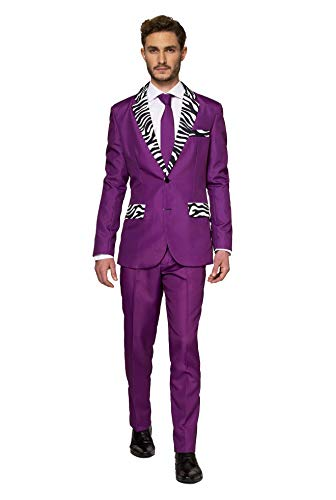 Suitmeister – Pimp – Halloween Costume for Men in Stylish Print – Full Set: Includes Jacket, Pants and Tie – L