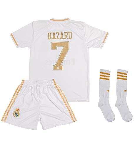 ATB Real Madrid 2019/2020#7 Hazard Heim Kinder Fußball Trikot und Shorts mit Socken Kinder und Jugend Größe