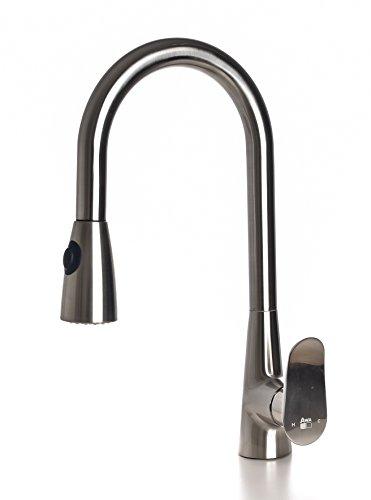AWA - Sherlock - Mezclador Grifo para cocina con con ducha extraible - Nickel Cepillado