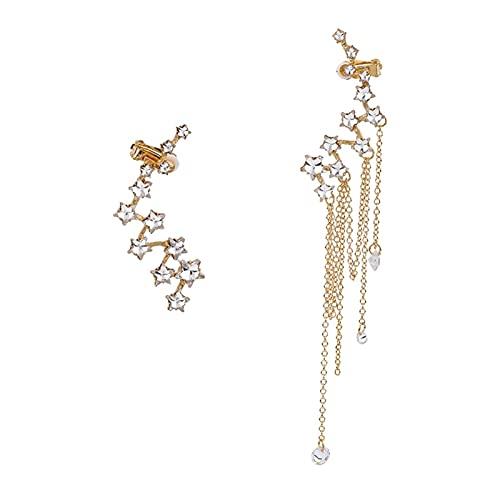 Shiny Zirconia Gems Star Ear's Clip Clip Dangle Orecchini for Le Donne Fashion Jewlery Earnario for la Moda Accessori Accessori (Metal Color : Gold)