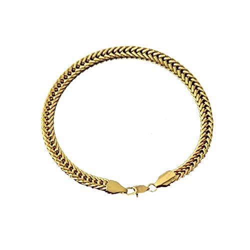 SENZHILINLIGHT Joyería de Moda Cadena para Hombres y Mujeres con Longitud 21cm 18K Chapado en Oro joyería de la Amistad joyería de Pareja encantos de Pulsera