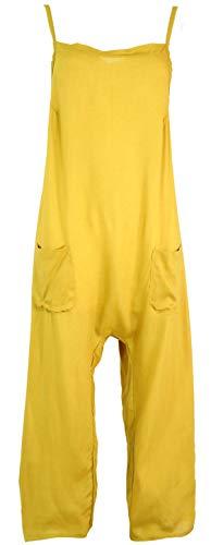 Guru-Shop Sommerliche Latzhose, Ethno Style Boho Einteiler, Overall- Safran, Damen, Gelb, Synthetisch, Size:XL (42), Lange Hosen Alternative Bekleidung