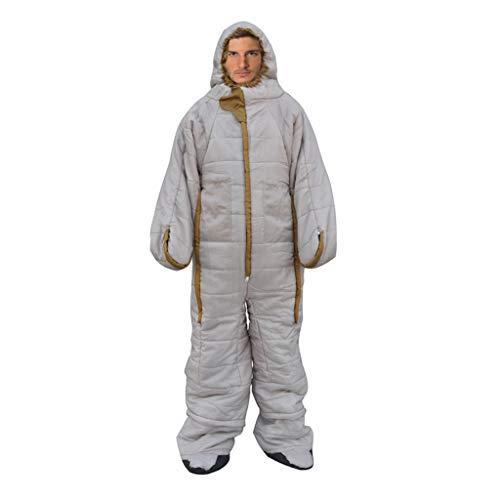 Wusfeng Astronauta Umanoide Sacco a Pelo Leggero e Compatto Campeggio Cotone per Camper Impermeabile Adulto Leggero Travel Mummia Professionale Zaino Termico Light Sintetico Trekking Beige