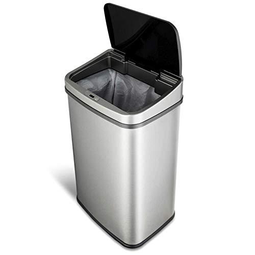 Cubo de basura de 50litros, de acero inoxidable de alta calidad Cubo de basura automático con sensor de movimiento