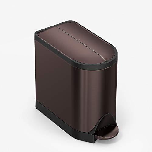 simplehuman 10 Liter / 2.6 Gallon Butterfly Lid Bathroom Step Trash Can, Dark Bronze Stainless Steel