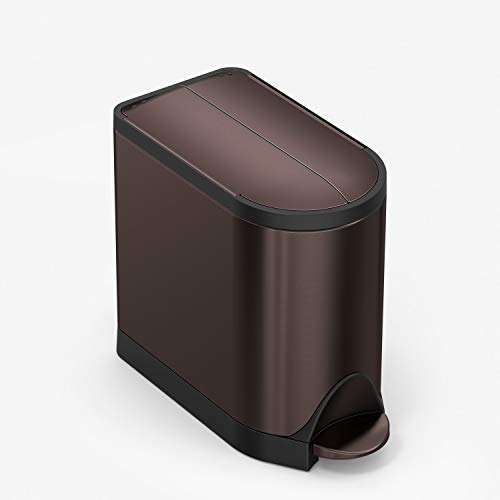 simplehuman 10 Liter / 2.6 Gallon Butterfly Lid Bathroom Step Trash Can, Dark Bronze Stainless Steel
