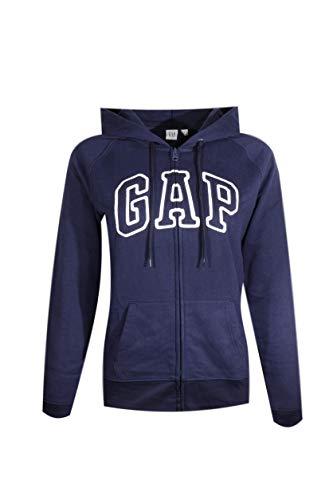 GAP Womens Fleece Arch Logo Full Zip Hoodie (Navy Blue, Medium)